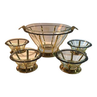 Mid-Century Brass & Glass Serving Bowls - Set of 10