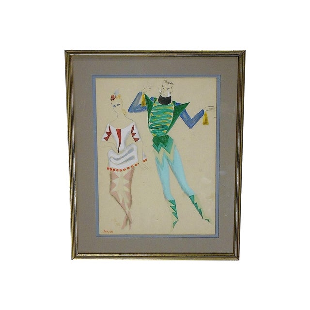 Image of Framed Deco Costume Designs, Gouache and Ink