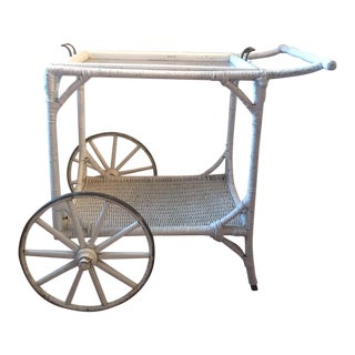 Vintage Wicker Bar Cart