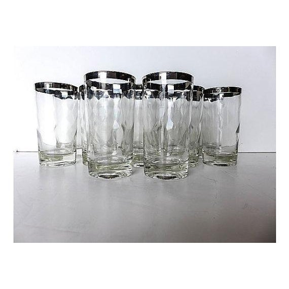 Mid-Century Modern Silver Rim Glassware - 11 - Image 2 of 6
