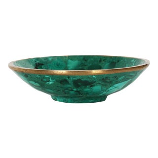 20th Century Vintage Natural Malachite and Bronze Bowl
