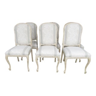 Traditional White Upholstered Dining Chairs - Set of 6