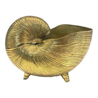 Vintage Polished Brass Nautilus Shell Planter