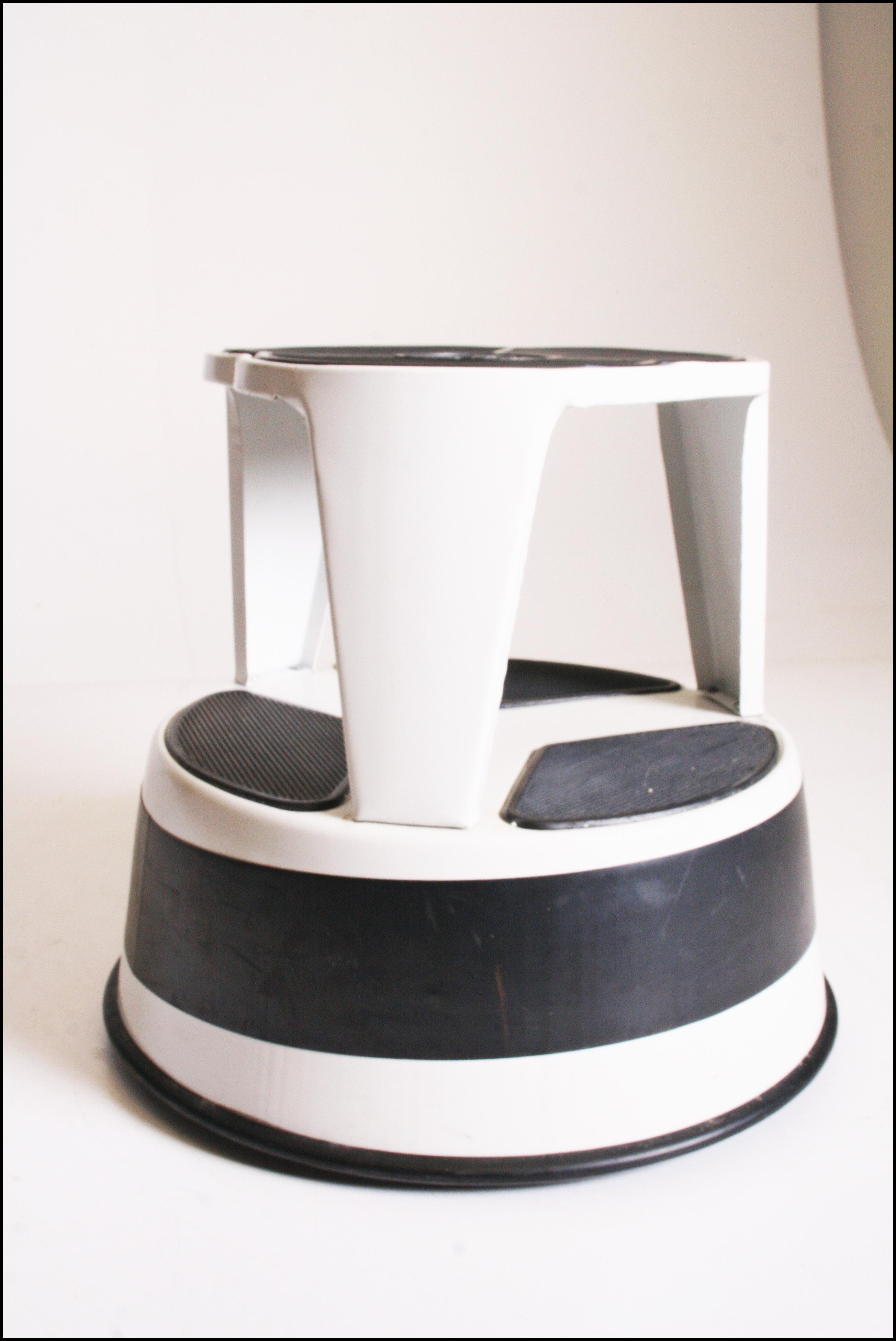 Mid Century Modern White Cramer Kik Step Rolling Foot