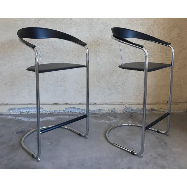 Modern Bar Stools In The Style of Anton Lorenz for Thonet- A Pair - Image 4 of 11
