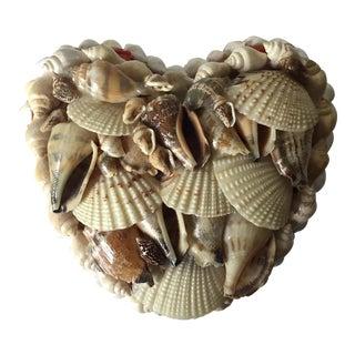 Vintage Heart Shape Shell Trinket Box