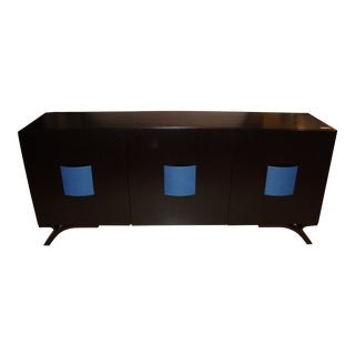 Hollywood Regency Style Dakota Jackson Ebony & Celeste Blu Panel Sideboard