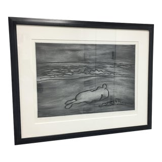 """Woman Lying on the Beach"" Lithograph"