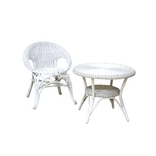 White Wicker Dining Set