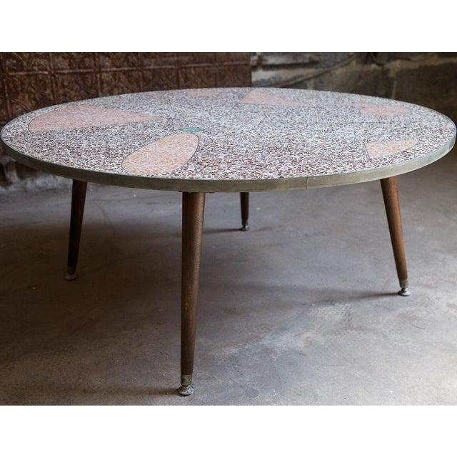 Geometric terrazzo tile coffee table chairish for Geometric coffee table