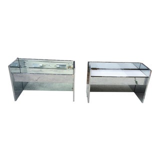 Mirrored Chrome Night Stands - a Pair End Tables Style of Karl Springer