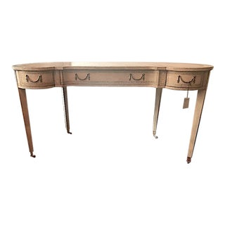 Maitland-Smith French Kidney Cream Leather Top Desk