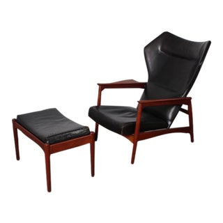 Adjustable Leather Lounge Chair and Ottoman by Ib Kofod-Larsen