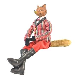 Red Plaid English Christmas Fox Figurine