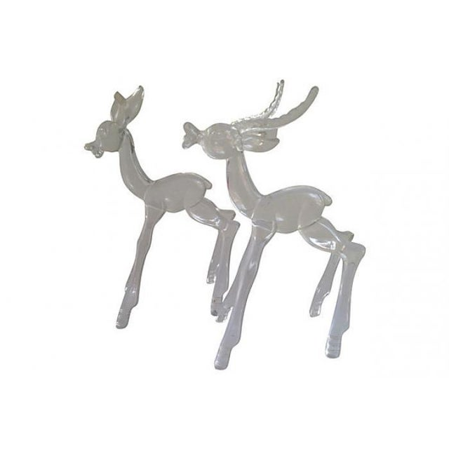Image of Midcentury Lucite Deer - Pair
