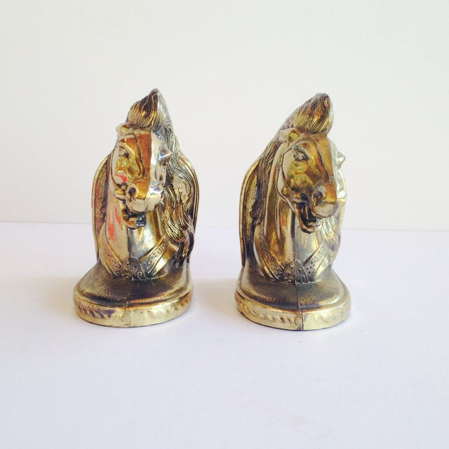 Brass Horse Head Bookends - Image 2 of 4