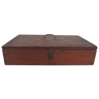 Antique Art Box Wood With Brass