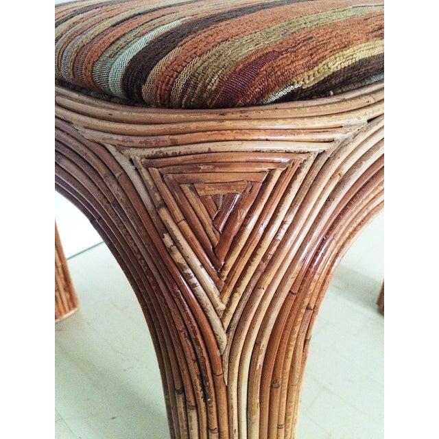 Vintage Boho Upholstered Rattan Ottoman - Image 6 of 7