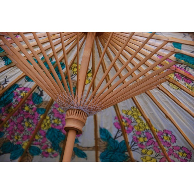Vintage Asian Rice Paper Floral Umbrella - Image 7 of 10