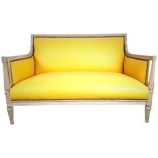Yellow Leather French-Style Settee