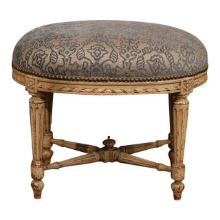 19th Century French Louis XVI Carved Painted Stool With New Cut Velvet Fabric