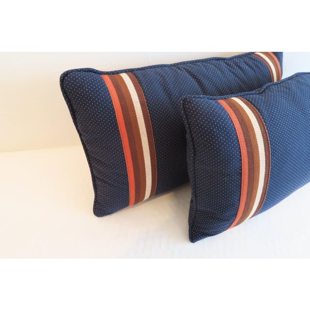 Custom Navy and Orange Stripe Pillows - a Pair - Image 3 of 4