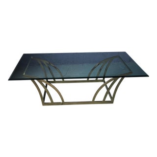 1980s Vintage Brass & Glass Large Coffee Table