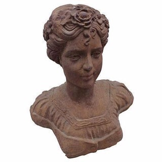French Cast Iron Garden Bust of a Maiden