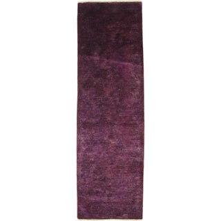 "Purple Over-Dyed Hand-Knotted Runner - 2'10"" X 9'3"""