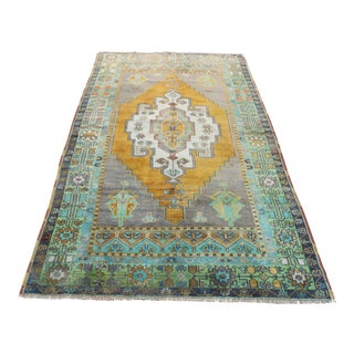 Antique Turkish Faded Rug - 4′7″ × 8′4″