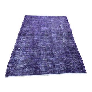 Vintage Turkish Purple Rug - 4' X 6'4""