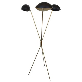 Stillovo Italian Mid-Century Floor Lamp with Brass Base & Black Shades