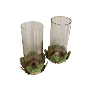 Vintage Tole Hurricane Candle Holders