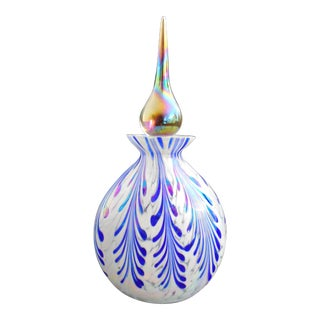 Vintage Hand Crafted Art Glass Perfume Bottle & Stopper by Glass Act Studio