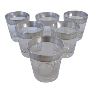 Dorothy Thorpe Highball Silver Rimmed Glasses- Set of 6