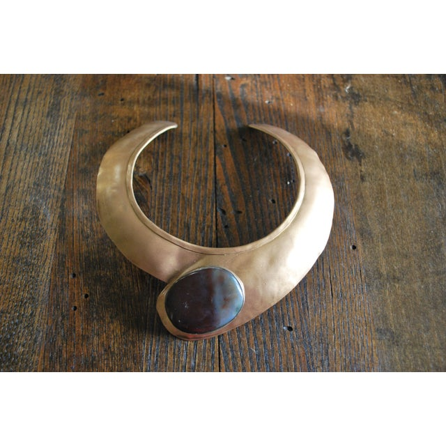 Image of Vintage Hammered Brass Agate Stone Collar Choker