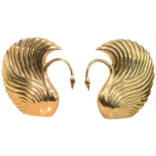 Pair of Grand Scale Art Deco Revival Brass Swans by Dolbi Cashier