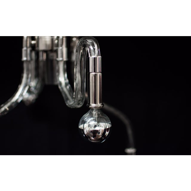 Image of Inverted Four Arms Glass Chandelier With Nickel