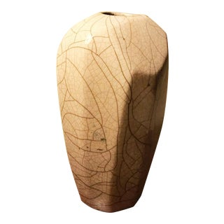 Mid Century Modern Asymmetical Crackle Glaze Pottery Vessel