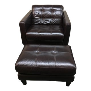 Milan Leather Arm Chair & Ottoman