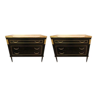 Ebonized Louis XVI Hollywood Regency Commodes or Nightstands - a Pair