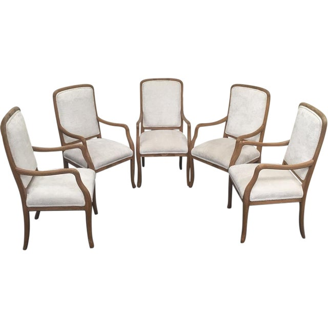 White Upholstered Ribbed Wood Chairs - Set of 5 - Image 1 of 8