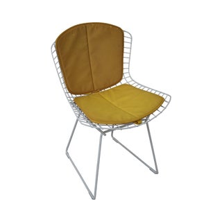 Vintage White Wire Frame Side Chair With Yellow Cover