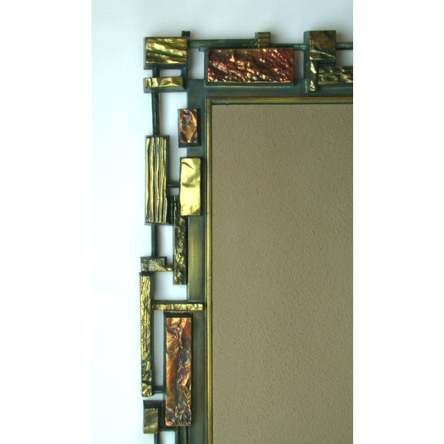 Syroco Paul Evans Style Brutalist Mid-Century Modern Wall Mirror - Image 4 of 9