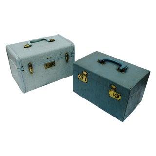 Blue Samsonite Train Cosmetic Cases - A Pair