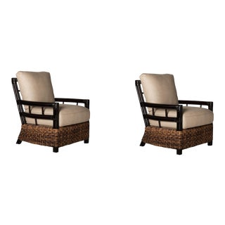 David Francis Abaca Rattan Club Chairs - A Pair