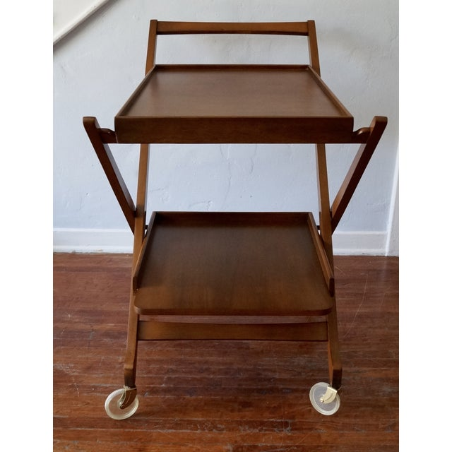 Image of Danish Modern Refinished Wood Bar Cart