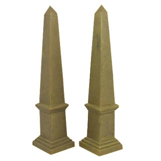 Mid-Century Brass Obelisks - A Pair