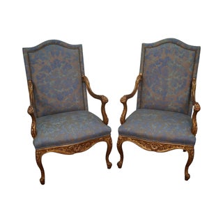 French Louis XV Style Carved Gilt Arm Chairs - A Pair