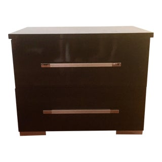 Modern Black Lacquer Nightstand
